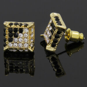 Gold and Black Cz Cube Hip Hop Micro Pave Kite Stud Earrings