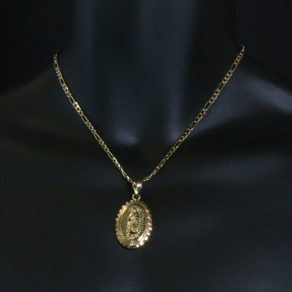 """Guadalupe 14k Pendant w/18"""" Figaro Chain"""