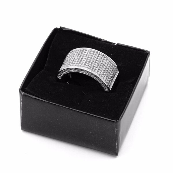 Iced Out CZ Dome Wrap Silver Plated Ring