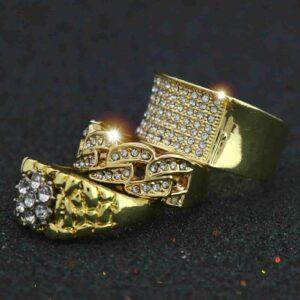 14K Gold PT Cuban, Nugget, Dome Ring Set