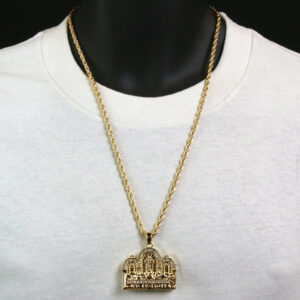 "Cross LAST SUPPER Pendant Diamond Cut w/24"" Rope Chain"