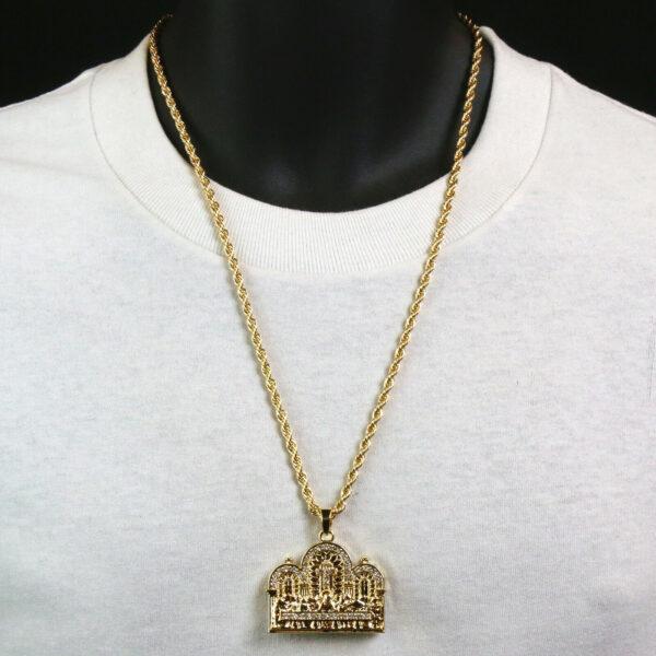 "Cross LAST SUPPER Pendant Diamond Cut w/24"" Rope Chain"