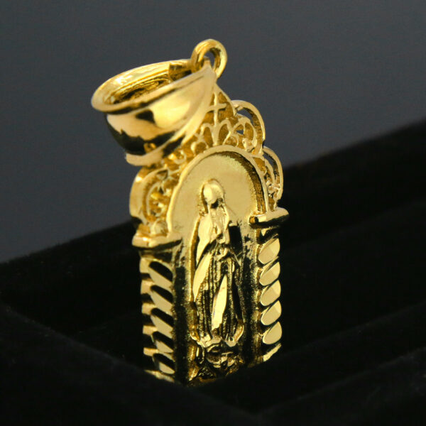 "18k GP Virgin Mary Temple w/24"" Figaro"