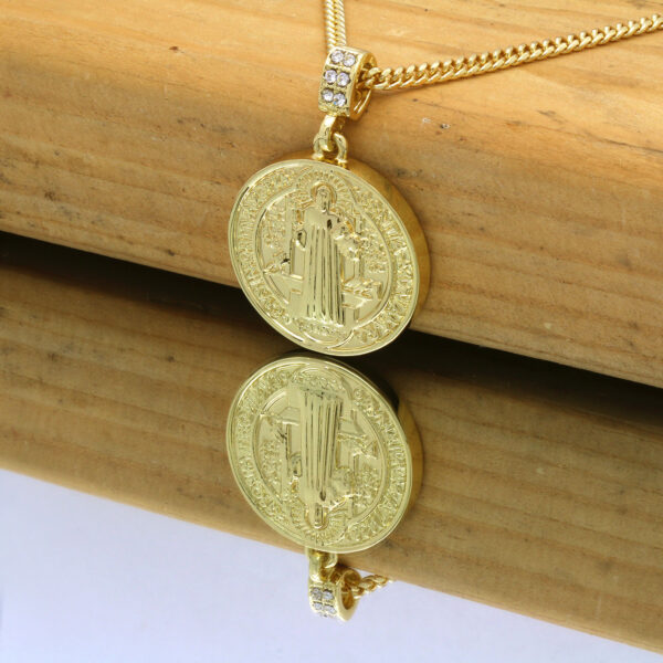 14K Saint Benedict Pendant w/Cuban Link