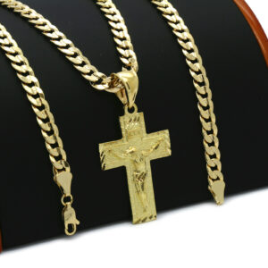 18k Gold Plated JESUS CROSS w/Cuban Link