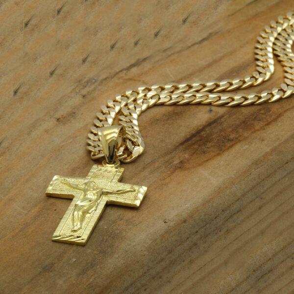 18k Gold Plated JESUS CROSS w/Cuban Link