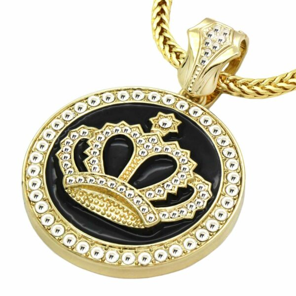 "14k Gold Plated Crown Pendant w/ 30"" Franco Chain"