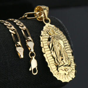 "14k Guadalupe Charm w/18"" Figaro Chain"