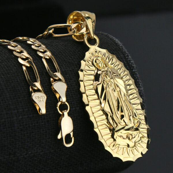 "14k Guadalupe Charm w/18"" Figaro Chain"