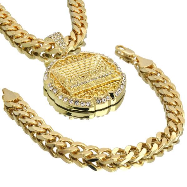 """Mens 14k Gold PT XL Last Supper Cz Pendant 10mm 30"""" Cuban Chain and Bracelet"""