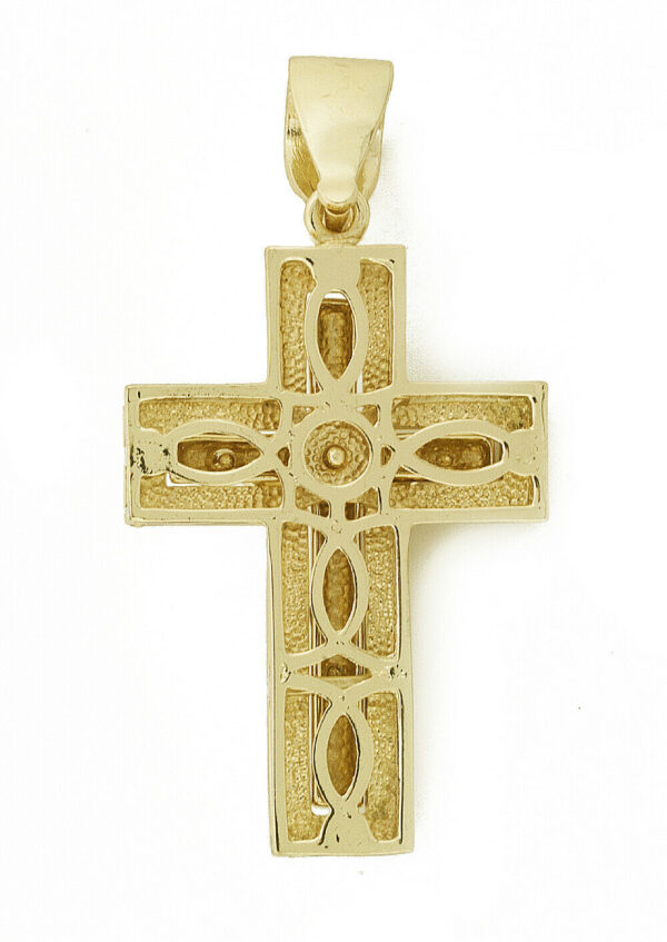 "14K Jesus on Iced Cross W/24"" 36"" Franco Chain"
