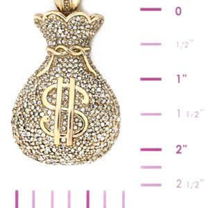 14K Iced Money Bag W/24