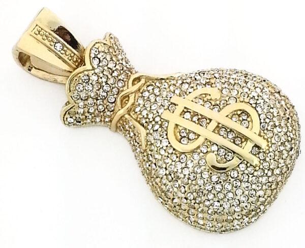 "14K Iced Money Bag W/24"" 30"" 36"" Franco Chain"