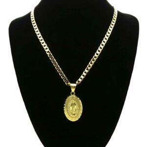 "18k Gold Plated Guadalupe W/24"" Cuban"