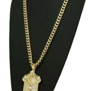 "18K Last Supper Pendant w/30""Cuban Chain"