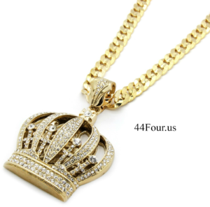 "Mens Gold Queen Crown Pendant w/30"" Cuban Link"