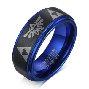 Black Blue Matte Surface Carbide Tungsten Wedding Band