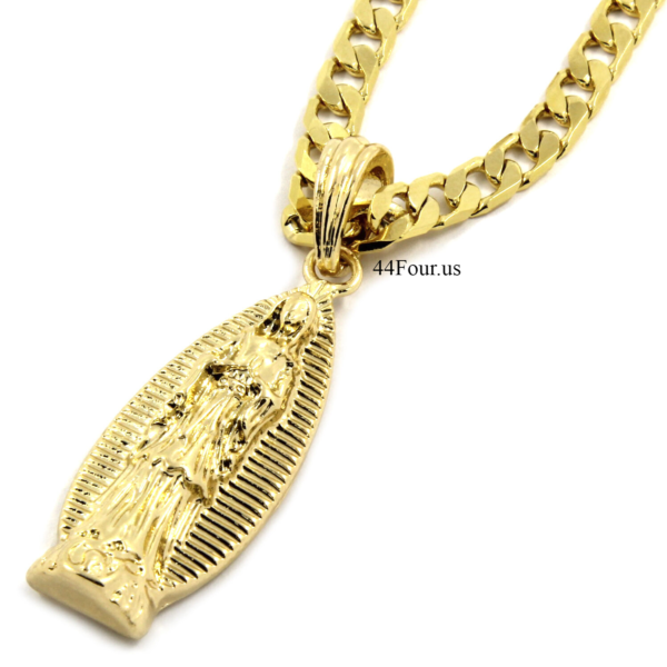 "14K Gold Plated Long Virgin Mary Pendant w/24"" Flat Cuban Chain"