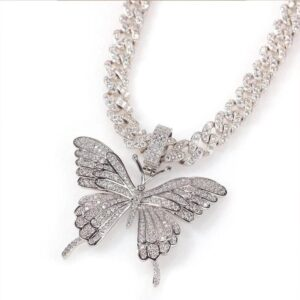 Women's Luxury Silver/Gold Butterfly Pendant Iced Out w/20