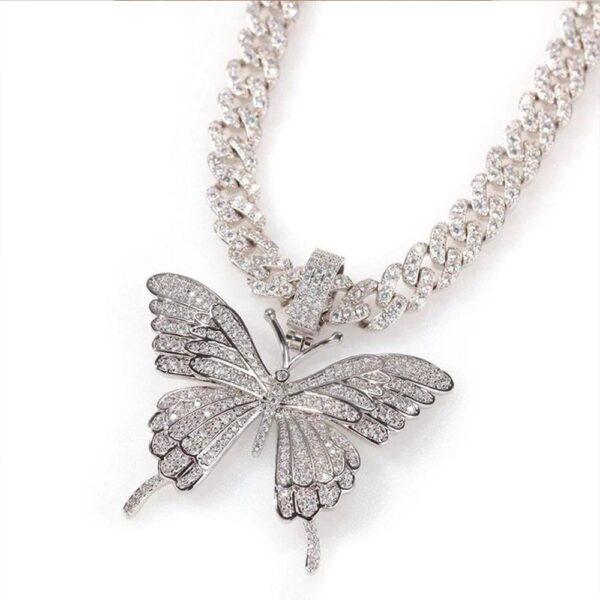 "Women's Luxury Silver/Gold Butterfly Pendant Iced Out w/20"" Cuban Link"