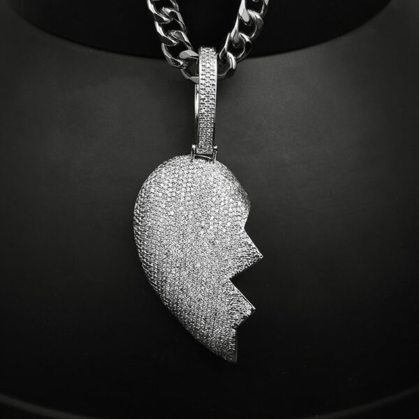 Iced Out Broken Heart Pendant Cubic Zircon Charms