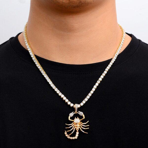 Iced Out Cubic Zircon Tennis Necklace & Scorpion Pendant