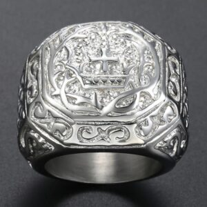 Men's Ring Rock Carved Cross
