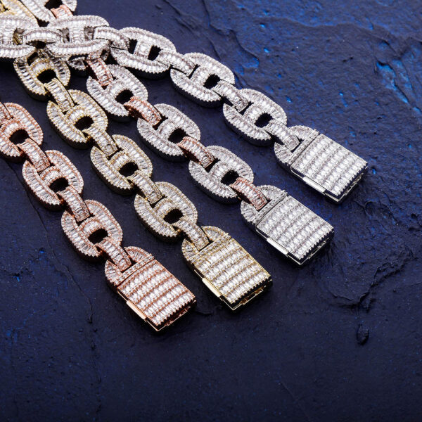 15mm Prong Setting Iced Out Wide Mariner Chains