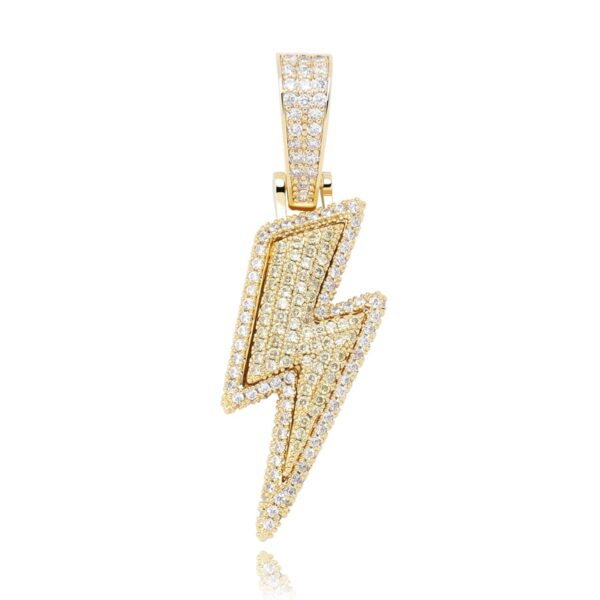 Iced Out Lightning Pendant W/ Tennis Chain AAA Cubic Zircon