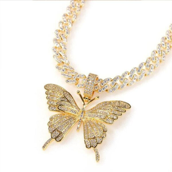 "Women's Luxury Silver/Gold Butterfly Pendant Iced Out w/20"" Cuban Link"