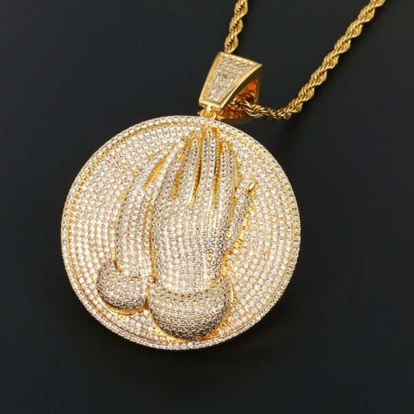 Jesus Piece Praying Hands Iced Out Pendant w/ Chain Of Choice