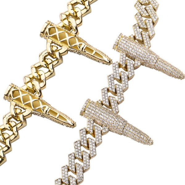 Rivet Bullet-shaped Full AAA + CZ Stones Punk Style Cuban Link