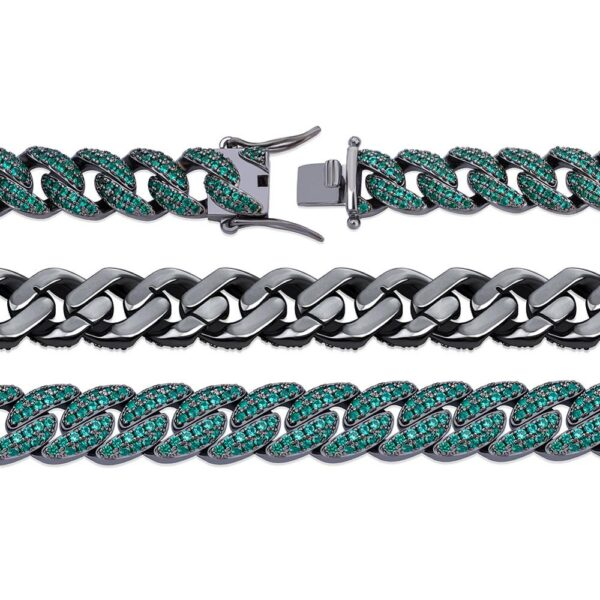 Iced Out Micro Paves Cubic Zircon Different Color Cuban Links