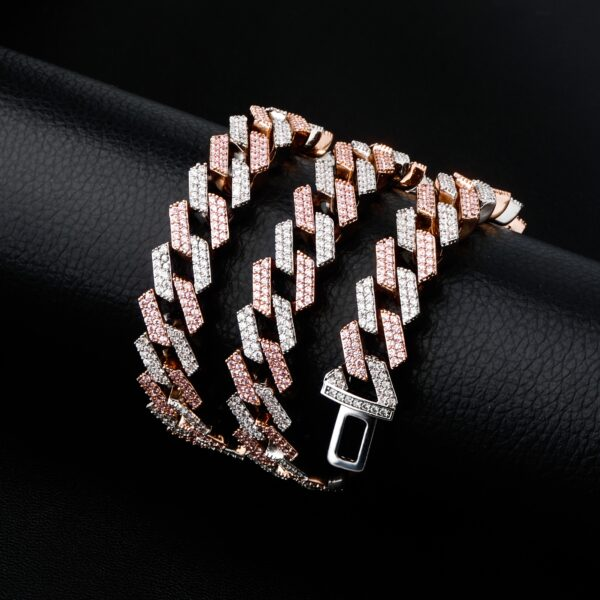 Miami Prong Set Cuban Pink Iced Out Link