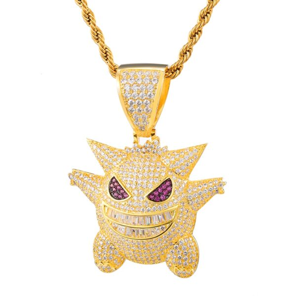 Iced Out Bling Cubic Zircon Ghost Pendant & Necklace