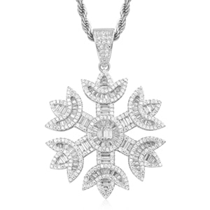 Iced Out Snow Pendant Charm With 4mm Tennis Chain