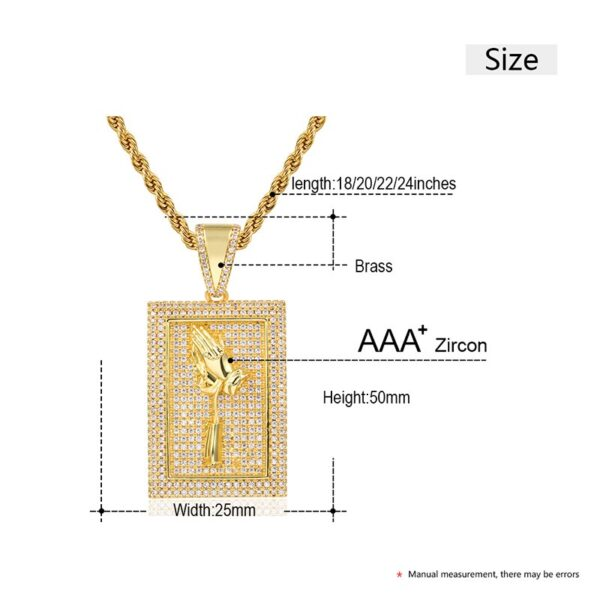 New Design Square Rose Hand Pendant Iced Out