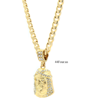 "14k Gold Plated Jesus Piece w/24"" Cuban Link"