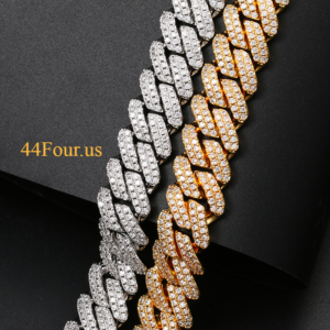 Iced Out Miami Curb Cuban Link White/Gold Color
