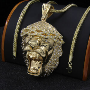 "XL Lion Pendant w/36"" Franco Chain"