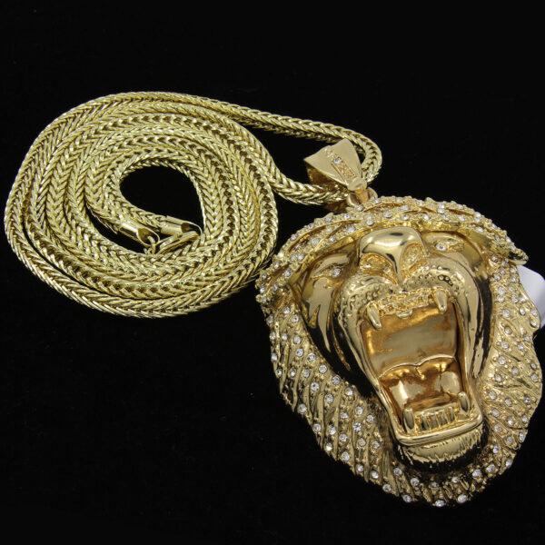 "XL Lion Pendant w/36"" Franco Chain"
