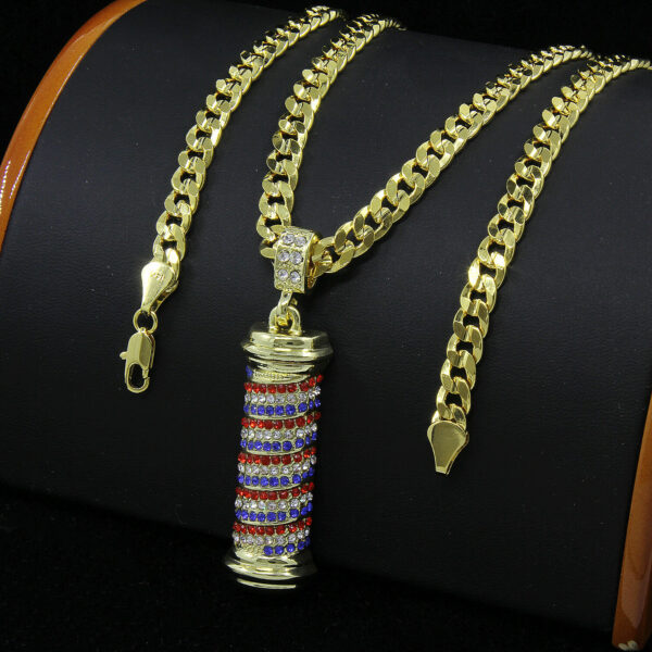 Mens Gold Plated Hip-Hop Barber Shop Pole Pendant