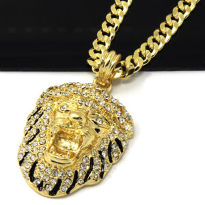 "Iced Tiger Face Pendant w/30"" Cuban Link"