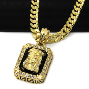 "14k Gold Plated Jesus Face w/30"" Cuban Chain"