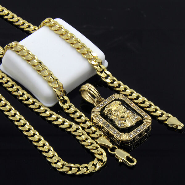 """14k Gold Plated Jesus Face w/30"""" Cuban Chain"""