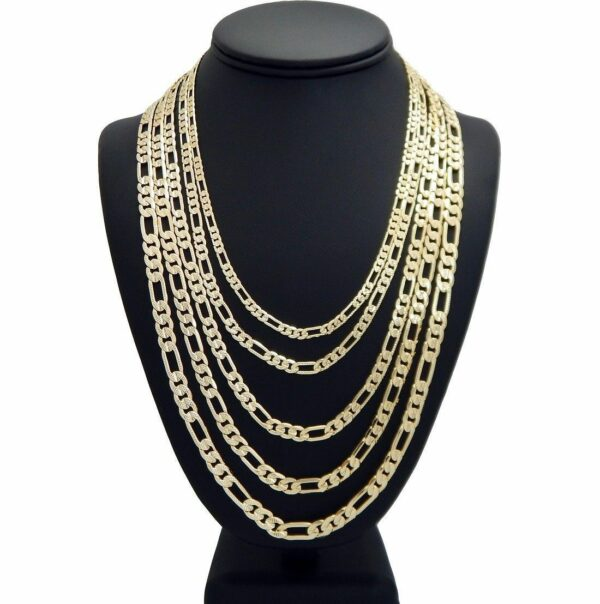 Diamond Cut Italian Figaro Link Chain Necklace 4mm to 12mm 14K Gold Plated