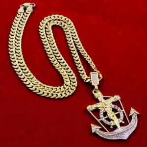 "Anchor Jesus Cross Pendant w/30"" Cuban Chain"