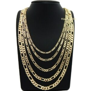 Italian Figaro Link Chain 14K Stamp Gold Plated