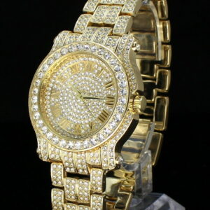 14k Gold Plated CZ Techno Pave Watch