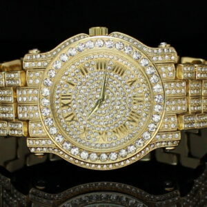 14k Gold Plated CZ Techno Pave Watch